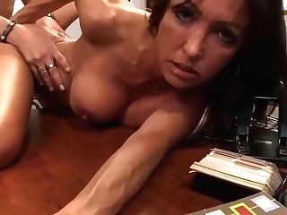 Gorgeous Cougar, Kristina Cross And Her Horny Chief Are Having A Nice Orgy Act, On The Desk