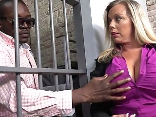 Matures Blonde Milky Lady Lets A Black Convict Grope Her Big Breasts Thru The Bars