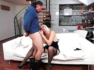 Mischievous Blonde Cougar In Black Undergarments Has A Draped Stud Banging Her Twat