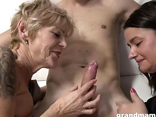 Grannies Wanna Have Joy - Old And 18yo In Threesome Share Jism