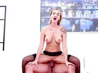 Blonde Cougar Jiggles Bra-stuffers And Screams When Railing Dick The Hard Way