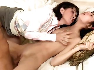 Pretty Nubile And Buxomy Stepmom Threesome Session On Sofa