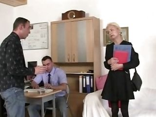 Two Guys Entice Old Blonde