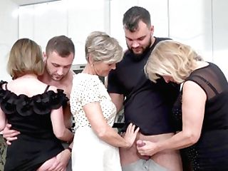 Insolent Matures Undress And Share The Lad's Big Dicks In A Crazy Home Orgy
