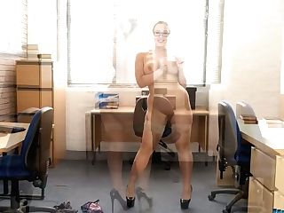 Whorish Round Chick Beth Get Snaked And Dances In The Office