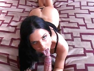 Nasty Black-haired Assistant India Summer Is Truly Impatient To Get
