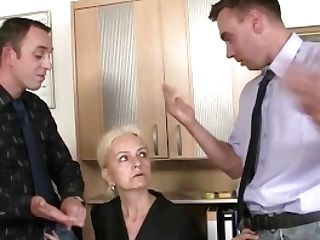 Granny Takes Two Penises At Job Interview