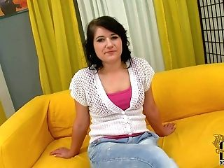 Lucy Bell Is A Playful Euro Brown-haired That Does Striptease